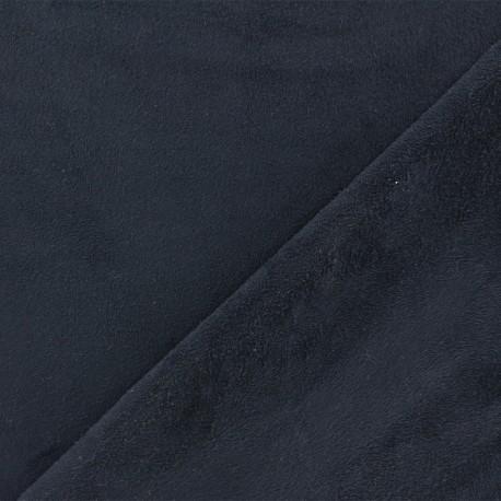 Tissu Suédine élasthanne Aspect daim - marine x 10cm