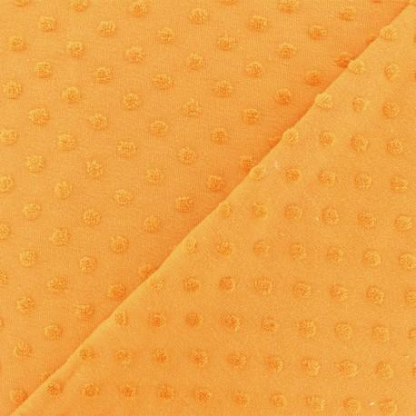Oeko-Tex Dots Flocked velvet jersey fabric - saffron x 10cm