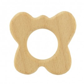 Organic natural wood teething ring - butterfly