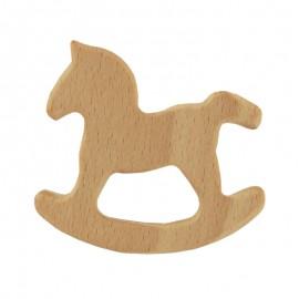 Natural wood teething ring - rocking horse