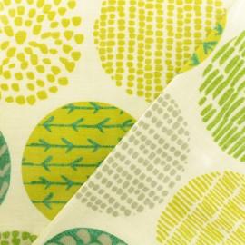 Coated cotton Fabric - green Casa Cactus x 10cm