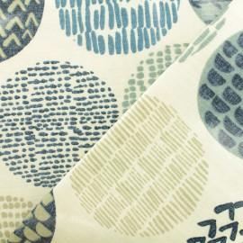 Tissu coton enduit Casa Indigo - bleu x 10cm