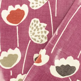 Coated cotton Fabric - purple Clara Very Berry x 10cm