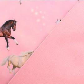Softshell fabric – pink Mon petit cheval x 10cm