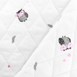 Oeko-tex quilted cotton pique fabric - fuchsia Funny owl x 10cm