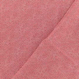 Twill viscose fabric - red Folky Dotty x 10 cm