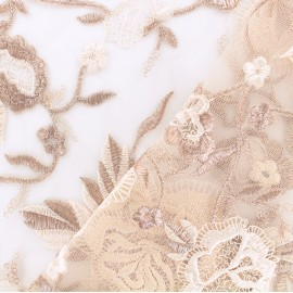 ♥ Coupon 15 cm X 130 cm ♥  tulle fabric - old pink Camille