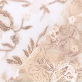 Tissu tulle brodé festonné Camille - vieux rose x 10cm