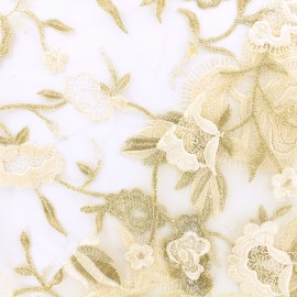 Scalloped tulle fabric - gold Camille x 10 cm