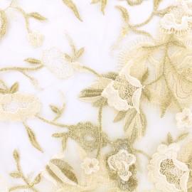 Tissu tulle brodé festonné Camille - doré x 10cm