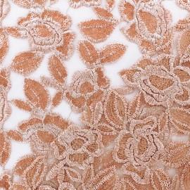 Tissu tulle brodé festonné Detroit - cuivre rose x 10cm
