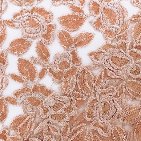 Scalloped sequins tulle fabric - gold Detroit x 10 cm