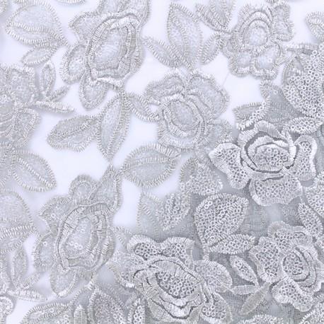 Tissu tulle brodé festonné Detroit - argent x 10cm