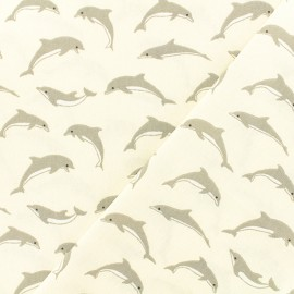 Oeko-tex coated cretonne cotton fabric  - ivory Dauphins x 10cm
