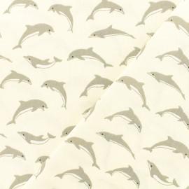 Tissu Oeko-Tex coton crétonne enduit Dauphins - ivoire x 10cm