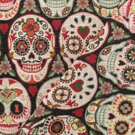 Jacquard fabric  - red Calaveras x 19cm