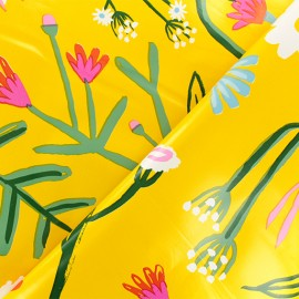 Oilcloth fabric - yellow Flower field x 10cm