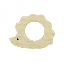 Organic natural wood teething ring -  hedgehog
