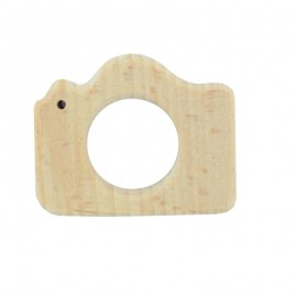Organic natural wood teething ring -  camera