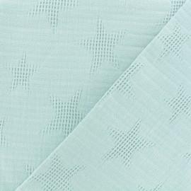 Tissu coton jacquard étoile - vert d'eau x 10cm
