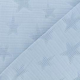 Tissu coton jacquard étoile - bleu fumé x 10cm