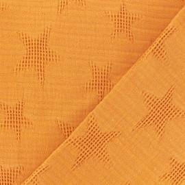 Tissu coton jacquard étoile - curcuma x 10cm