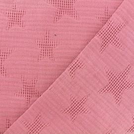 Tissu coton jacquard étoile - vieux rose x 10cm