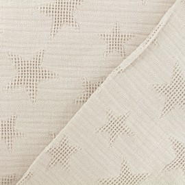 Jacquard cotton fabric - beige Star x 10cm