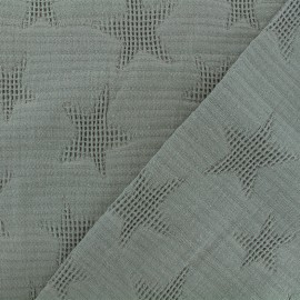Tissu coton jacquard étoile - gris sombre x 10cm