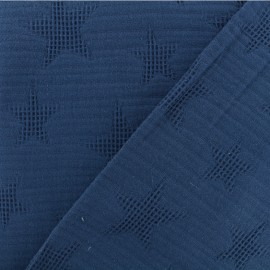Tissu coton jacquard étoile - bleu jeans x 10cm
