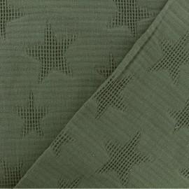 Tissu coton jacquard étoile - kaki x 10cm