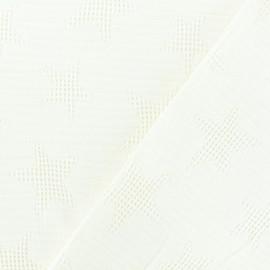 Tissu coton jacquard étoile - ecru x 10cm