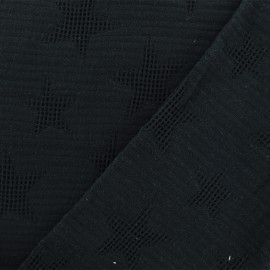 Jacquard cotton fabric - black Star x 10cm
