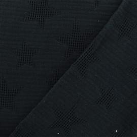 Tissu coton jacquard étoile - noir x 10cm