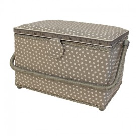 Sewing box size L - sweet heart - grey
