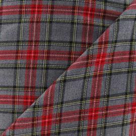 Tissu tartan écossais Berwickshire - gris/rouge x10cm