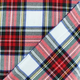 Scottish tartan fabric - white Roxburgh x 10cm