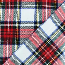 Tissu tartan écossais Roxburgh élasthanne - blanc x 10cm