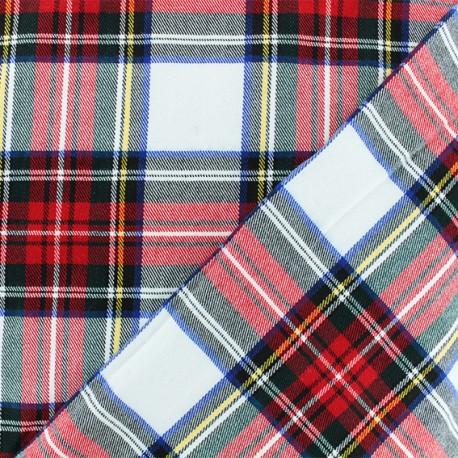 Scottish tartan fabric - white Roxburgh x 10cm