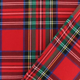 Scottish tartan fabric - red Roxburgh elastane x 10cm