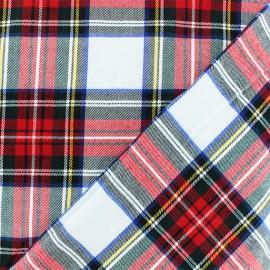 Tissu tartan écossais Roxburgh - blanc x 10cm