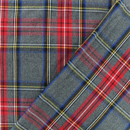 Scottish tartan fabric - grey Roxburgh x 10cm