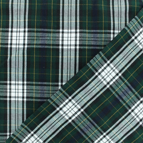 Scottish tartan fabric - green Tweeddale x 10cm