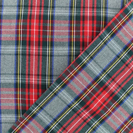 Tissu tartan écossais Tweeddale - gris x 10cm