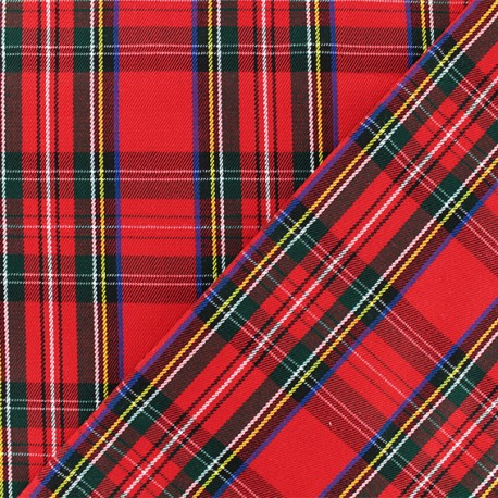 Scottish tartan fabric - red Tweeddale x 10cm