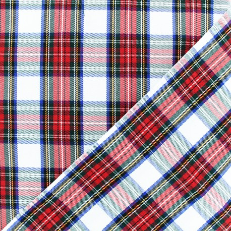 Scottish tartan fabric - white Tweeddale x 10cm