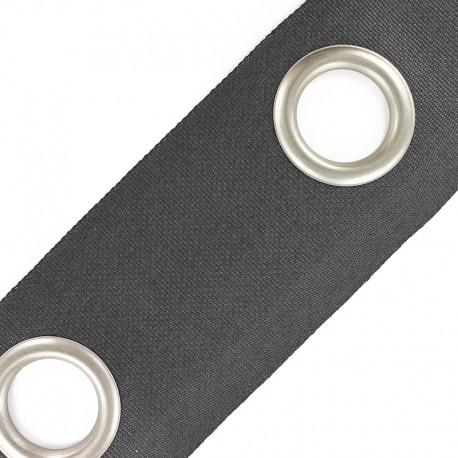 Double layer eyelet tape to sew 18 cm - grey
