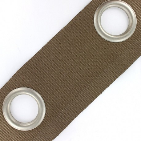 Double layer eyelet tape to sew 18 cm - brown