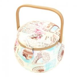 Round sewing cassette - pink/sky Paris