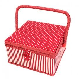 Boîte à couture carrée Pois & rayures - rouge